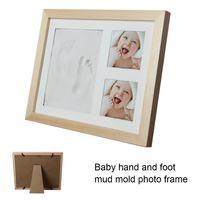 Solid Wood Newborn Baby Handprint Footprint Pad Hand & Footprint Makers Safe Clean Non Toxic Ink Pad Photo Frame Handprin