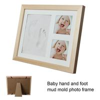 Solid Wood Newborn Baby Handprint Footprint Pad Hand & Footprint Makers Safe Clean Non Toxic Ink Pad Photo Frame Handprin