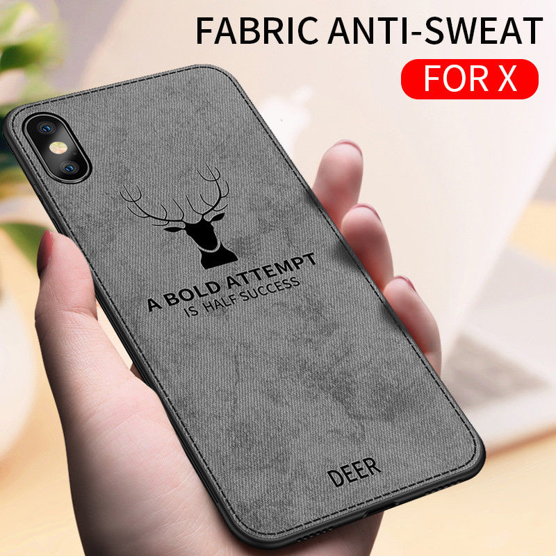 For iPhone 7 8 6 6S Plus X XR XS MAX Cloth Texture Phone Cases For iPhone X XR XS MAX Embossed Deer Pattern Protector Back Cover