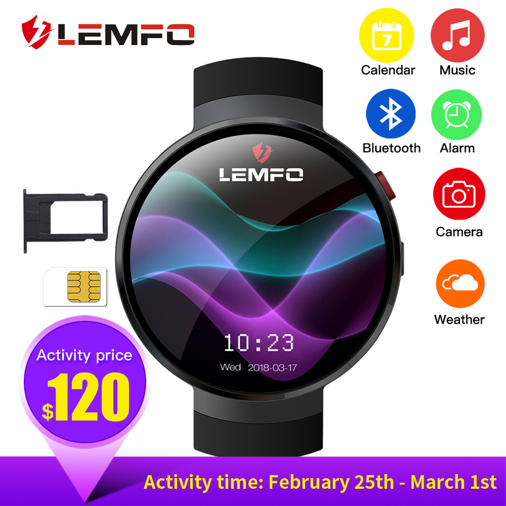 LEMFO LEM7 Смарт часы Android 7.1.1 LTE 4 г Sim 2MP камера GPS WIFI сердечного ритма 1 Гб + 16 памяти с камера Smartwatch для мужчин