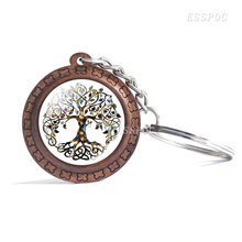 Vintage Wooden Key Rings Tree of Life Photo Glass Cabochon Pendant Keychain Unisex Chain