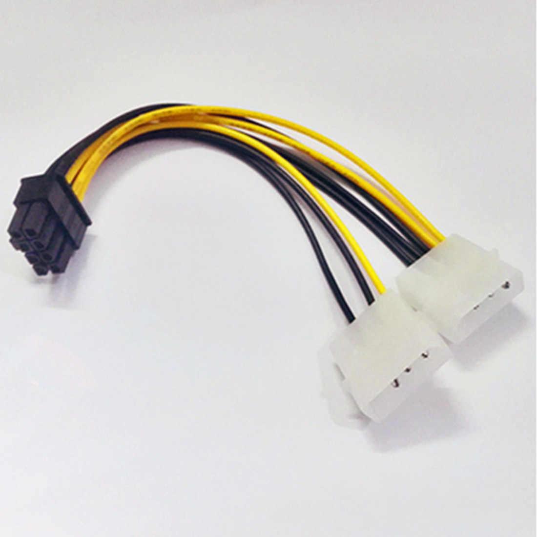 Yeni sıcak 6 inç 2 x Molex 4 pin 8-Pin PCI Express Video kartı Pci-e ATX PSU güç dönüştürücü kablosu-Molex Pcie 8 pin adaptörü