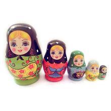 5 шт.. креативные маленькие куклы-матрешки ручной работы окрашенный набор игрушек желающие русские смешные игры Куклы Ремесла