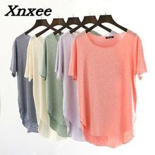 купить Harajuku loose cotton O neck short sleeve summer t shirt women tops tees bottoming shirt casual t-shirts Xnxee дешево