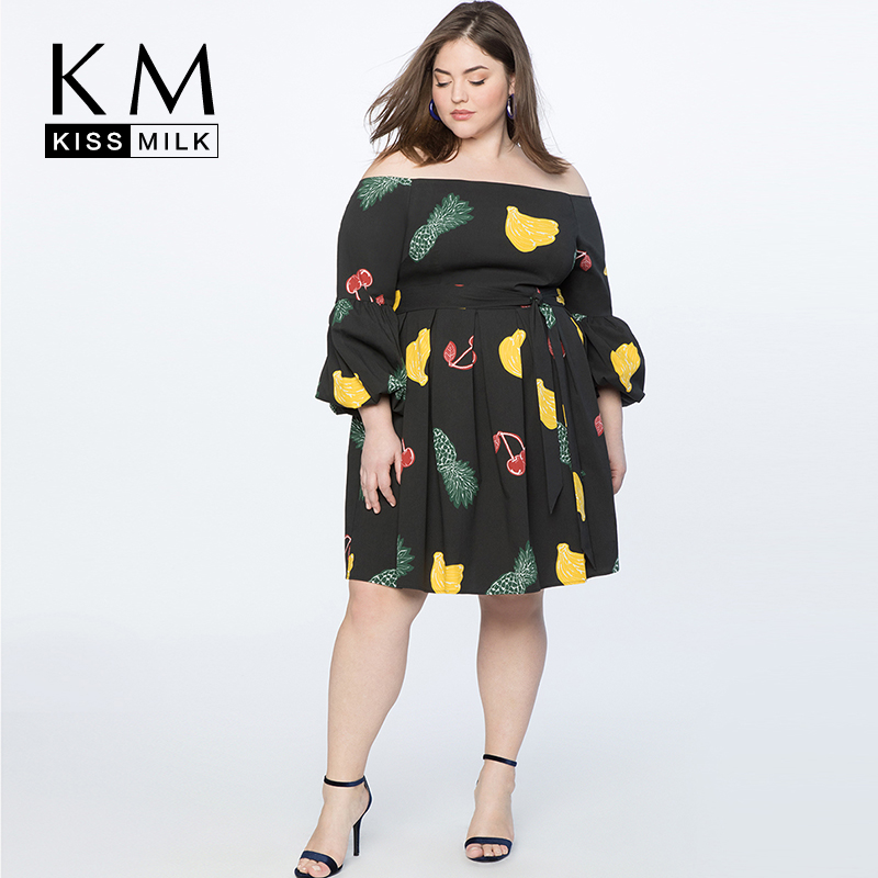 f7ce699d5c6d Kissmilk Plus Size Simple and sexy One-necked strapless fruit print with  long sleeve dress