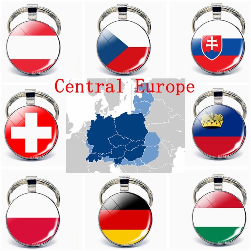 Central Europe: Austria Poland Germany Switzerland Slovakia Flag Key Chain Glass Jewelry Keychain Pendant Patriot National Gifts