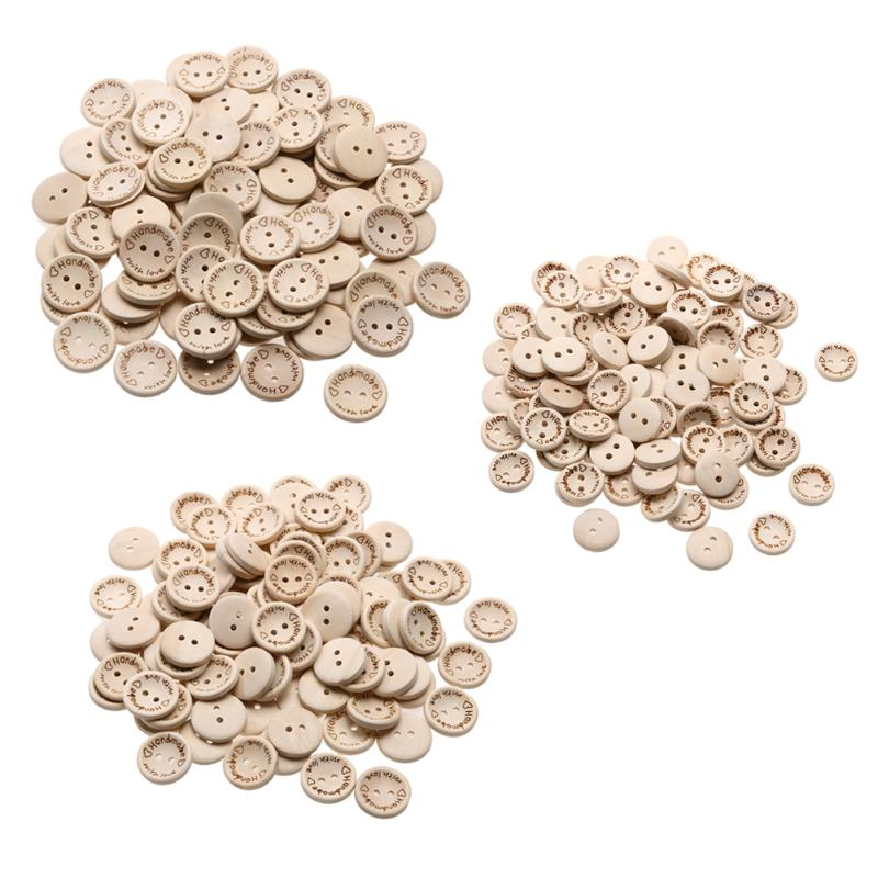 15-20-25mm 150pcs Wooden Handmade with Love Round Craft Decor 2 Holes Wooden Sewing Buttons