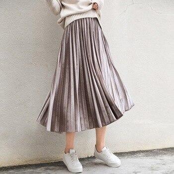 0c4bb7f6f Primavera 2019 mujeres largo metálico plata Maxi Falda plisada Falda Midi  cintura alta Elascity Casual falda de fiesta