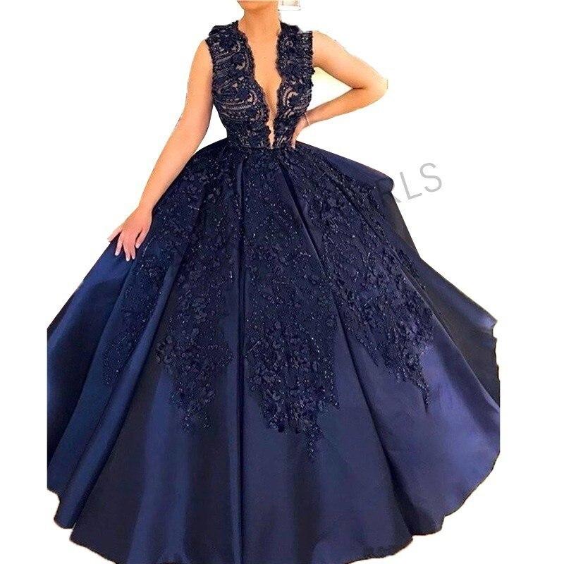 Robe de bal élégante robes de bal longue avec perles Sexy col en V bleu marine robe pour l'obtention du diplôme formelle soirée robe de bal 2019