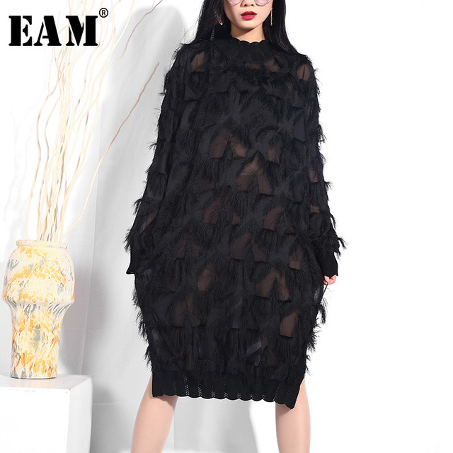 [EAM] 2019 New Spring Summer Stand Collar Long Sleeve Black Perspective Split Joint Big Size Dress Women Fashion Tide JI78
