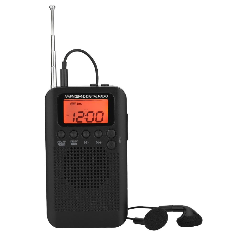 Mini Receiver Pocket 2-Band Digital Tuning AM//FM Stereo Radio LCD w//Earphone