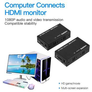 ALLOYSEED 60m Extensor HDMI 1080P 3D Transmisor HDMI Receptor En Gato 5e/6 RJ45 Ethernet Cable Ethernet Convertidor