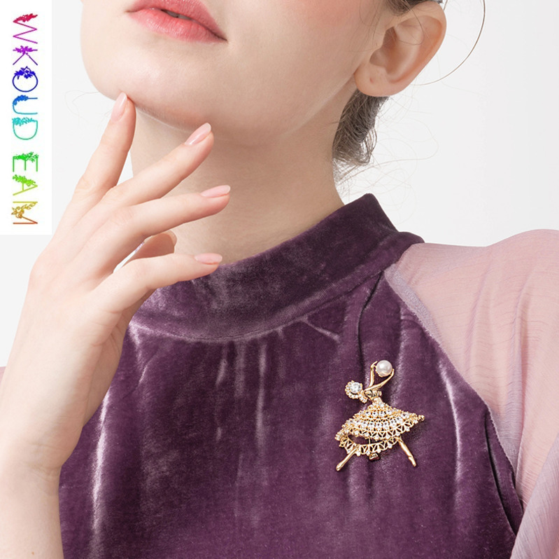 WKOUD EAM 2019 Fashion Pearl Artificial Crystal Ballet Dancer Brooches For Women Coat Dress Charm Jewelry Figure Corsage S#TA367