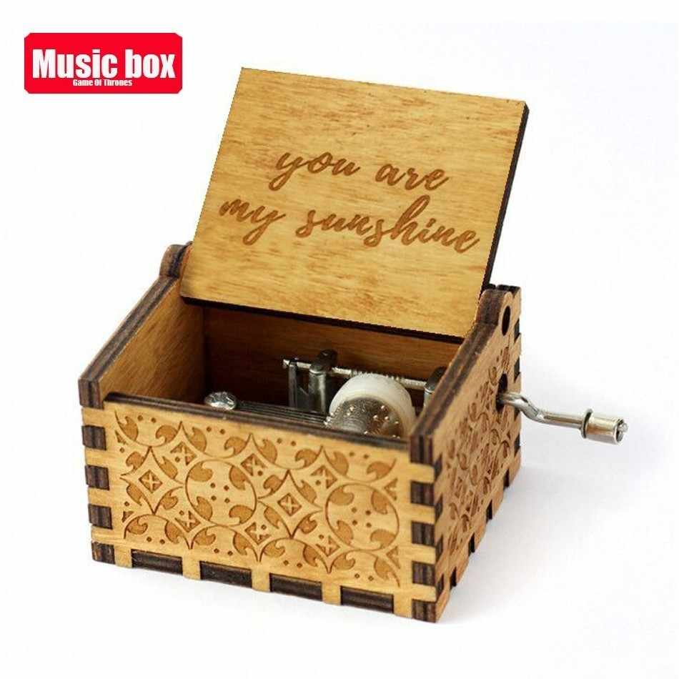 Wooden Carving Hand crafted You Are My Sunshine Music Box Christmas Baby Birthday Happy Gift Moon River Theme La Vie En Rose