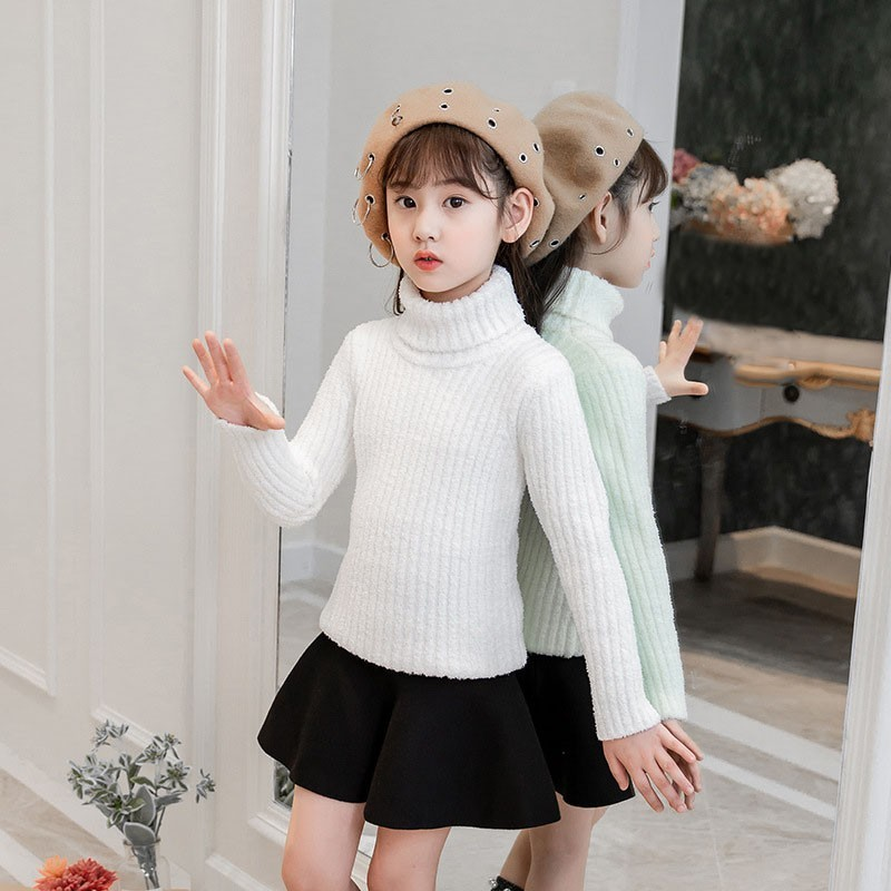 все цены на High Neck Teen Girls Sweater 2018 Autumn Winter Christmas Pink White Kids Pullover Knit Children Sweater Tops Toddler Clothing