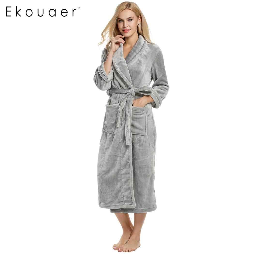 f5ffd61adb Ekouaer Women Winter Robes Nightwear Warm Kimono Bathrobes Shawl Collar Long  Sleeve Soft Plush Bathrobe Sleepwear