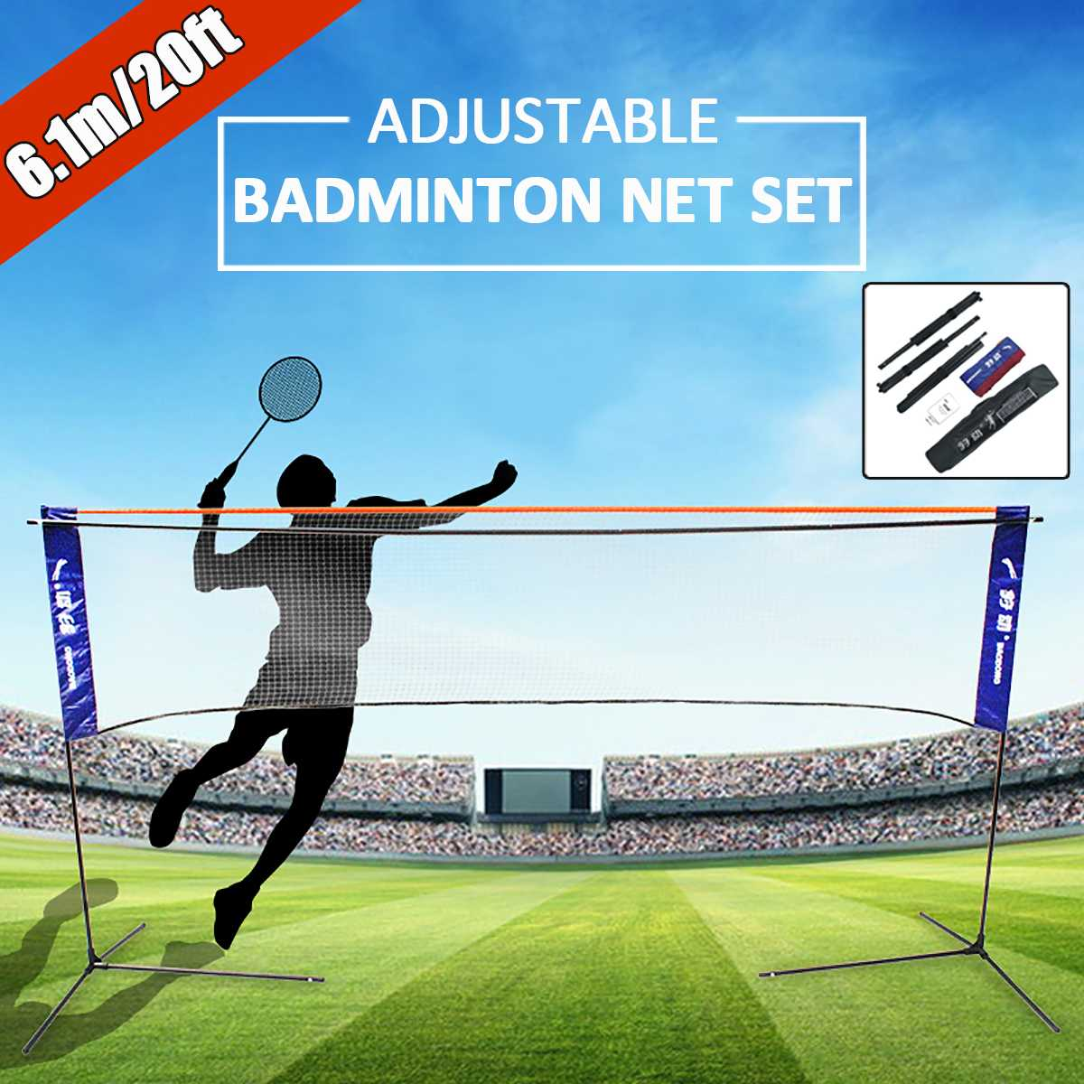 Sport Badminton Tennis Volleyball Net Portable Height Width Adujstable Battledore Set Net Frame Supporting Stand Storage Case