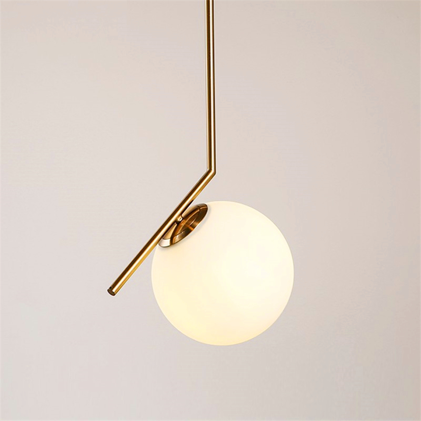 Nordic LED Glass Pendant Lamp Fixtures Dining Bedroom Room Frosted LED Pendant Lights Glass Shade Socket Hanging Lamp Luminaire