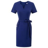 classic dresses Women office lady business wear work dress knee Short Sleeve V Neck Back Split Hips Wrapped Bodycon Pencil Dress