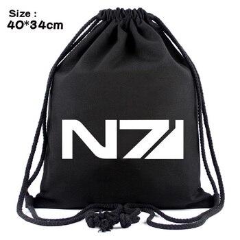b28ceb84edff Игра MASS EFFECT N7 шнурок мешок холщовый рюкзак дорожный сумки рюкзак со  шнурками Пляжная Сумка повседневная обувь чехол Косплэй подарок
