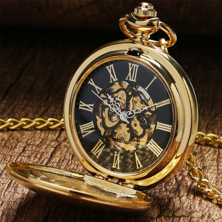 Golden Shield Mechanical Pocket Watch Steampunk Fob Watch Vintage Hand Winding Pocket Pendant Watch Gifts For Men Women Reloj
