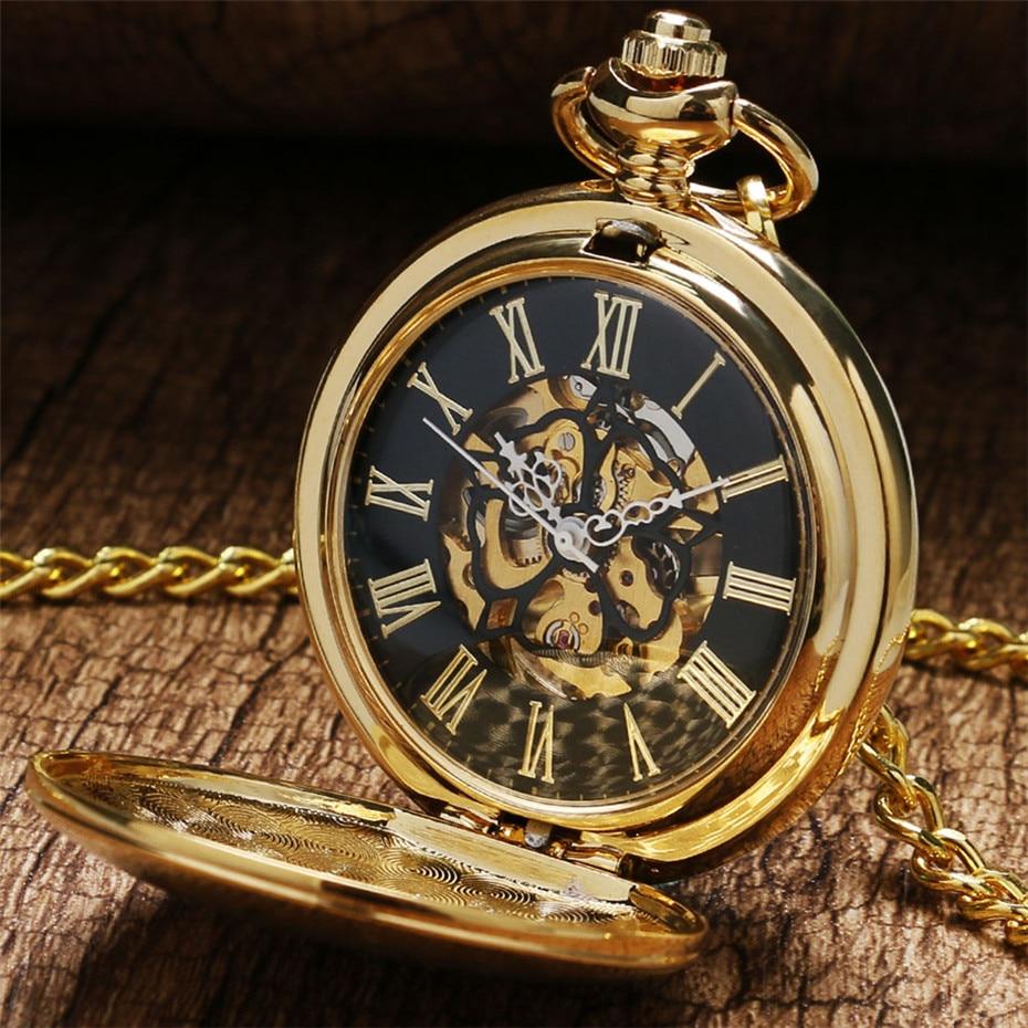 Golden Shield Mechanical Pocket Watch Steampunk Fob Watch Vintage Hand Winding Pocket Pendant Watch Gifts For Men Women Reloj