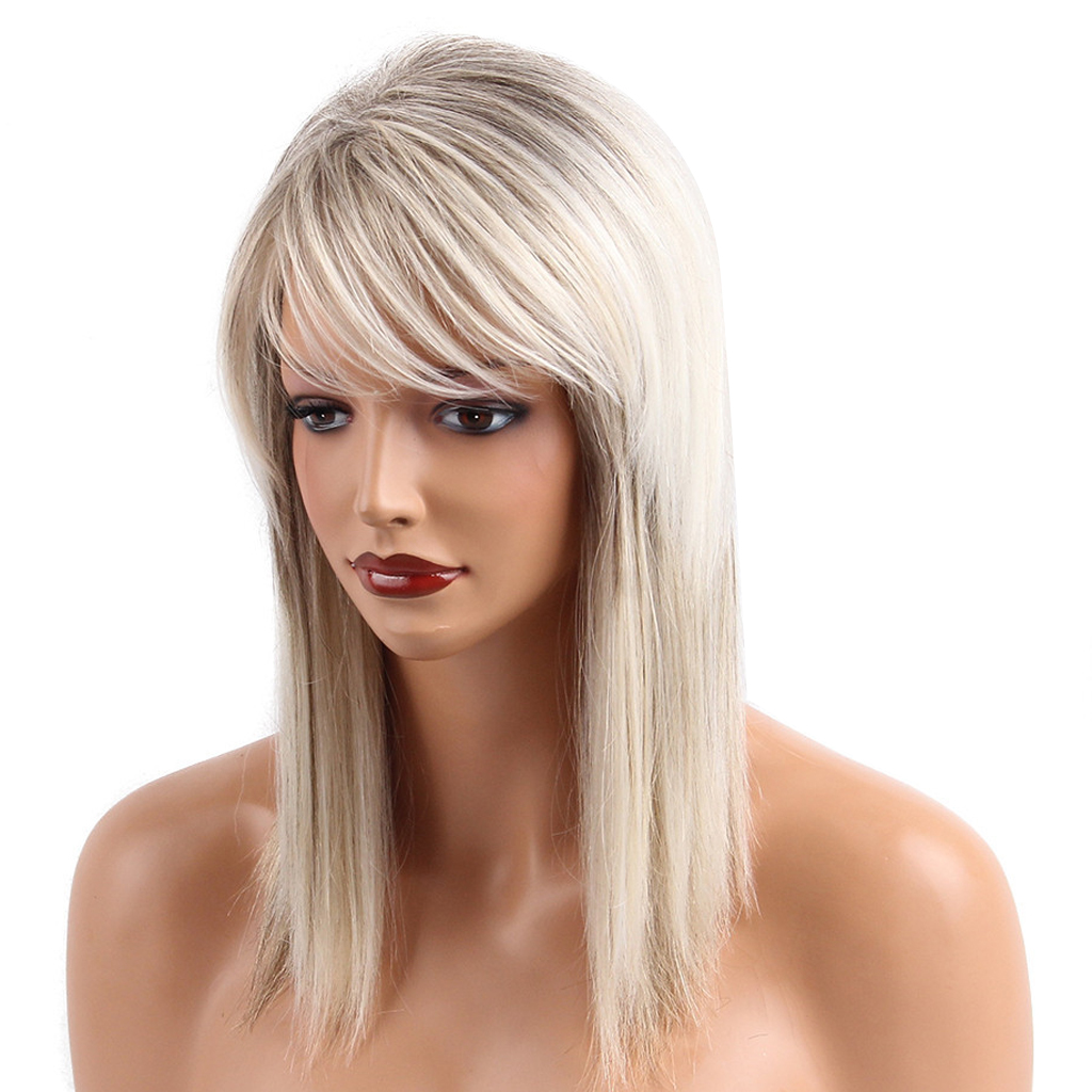 Chic Long Wigs for Women Human Hair & Bangs Fluffy Layered Wig Silver Gary Heat Resistant Female Hair Natural Straight