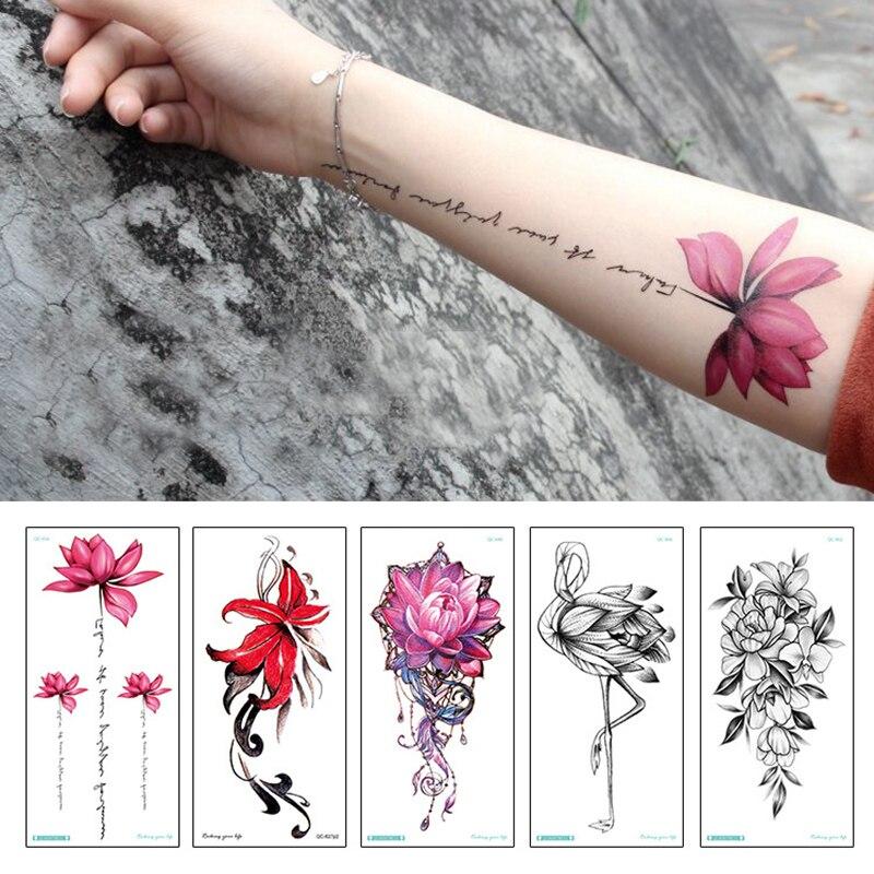 Модные Цветные цветы татуировки Женские Новые водонепроницаемые временные Черные татуировки наклейки боди-арт