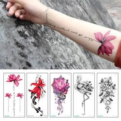 Мода красочные цветы Татуировки Женщины Новые водостойкие временные Черные татуировки наклейки боди-арт