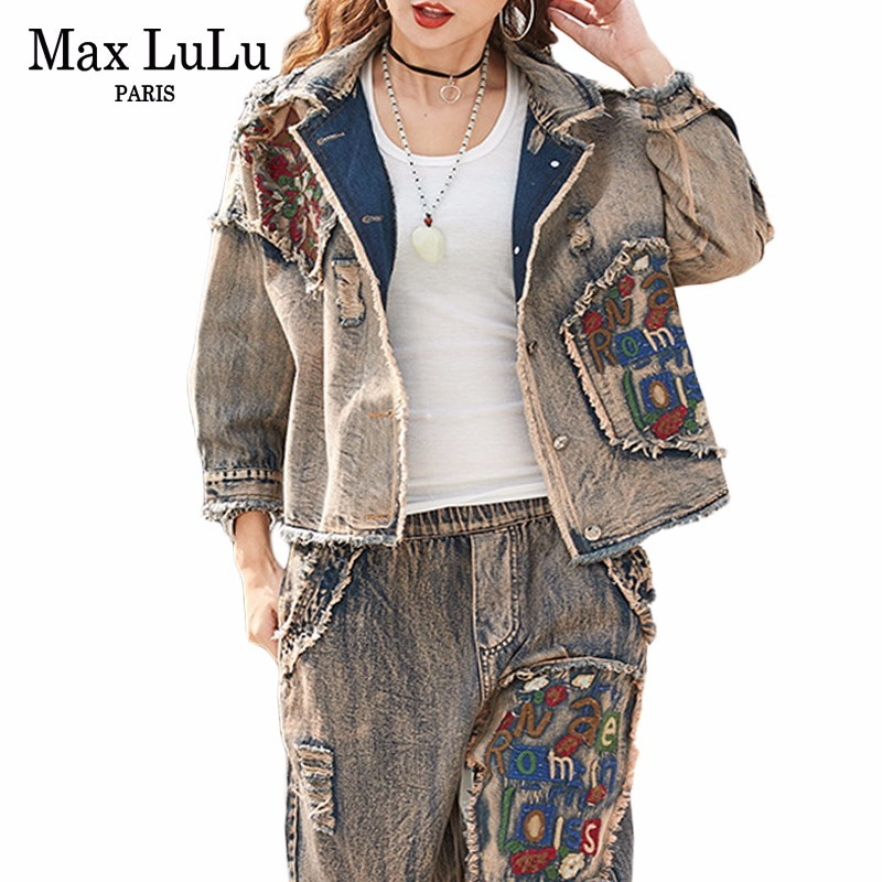Max LuLu 2019 Korean Ladies Jeans Jackets Casual Pants Womens Denim Two Piece Sets Spring Tracksuit Woman Floral Clothes Outfits