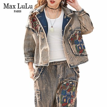 Max LuLu 2019 Korean Ladies Jeans Jackets Casual Pants Womens Denim Two Piece Sets Spring Tracksuit Woman Floral Clothes Outfits - discount item  27% OFF Women's Sets