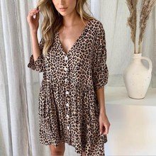 Women V-Neck Leopard Print Mini Dress Fashion Half Sleeve Button Summer Dress Casual Pocket Loose Beach Party Dresses цены
