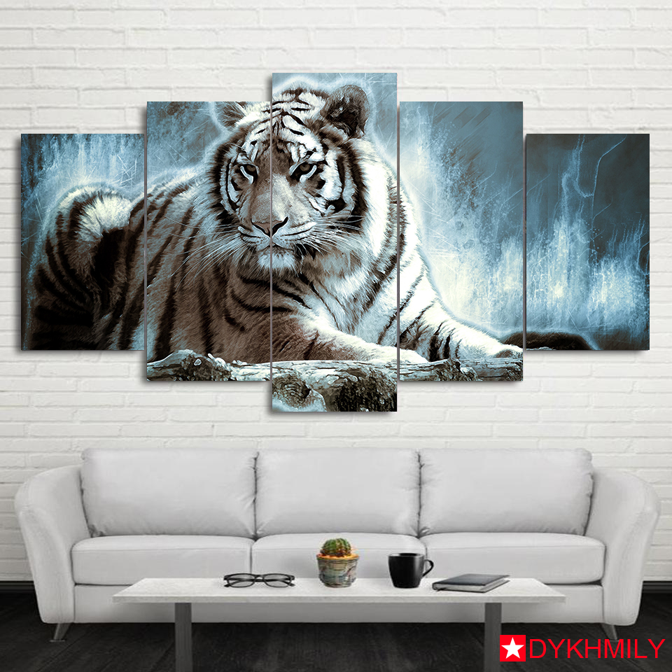 Home Decorate Tiger Living Room Canvas HD Printed 5 Piece