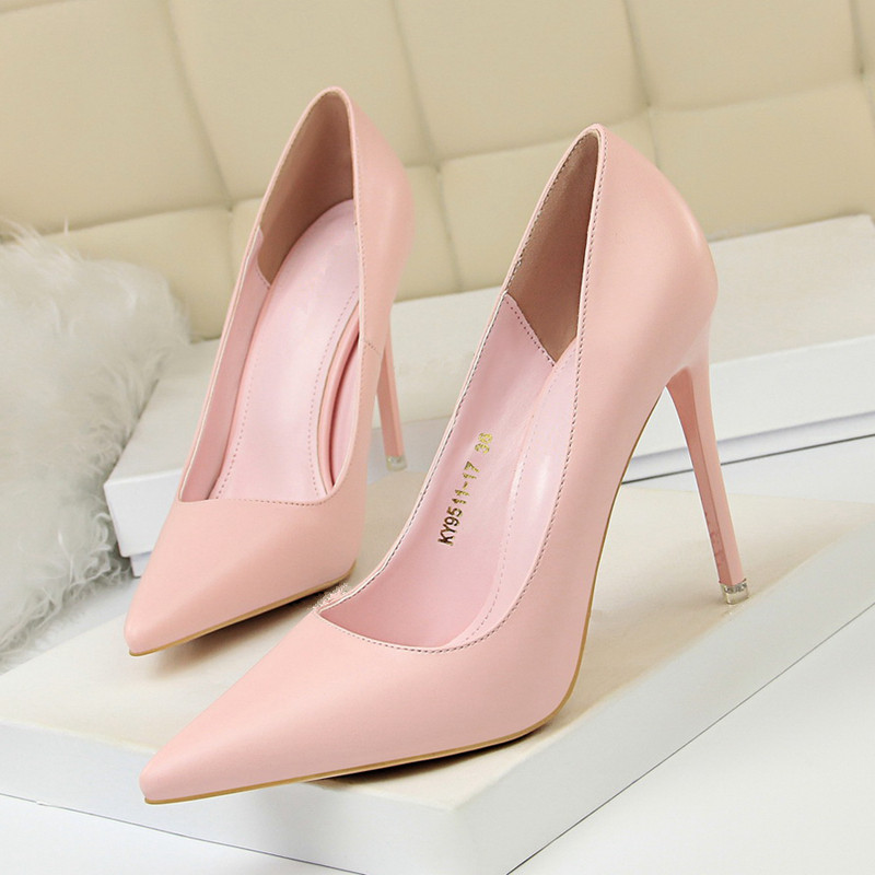 10.5CM Heels Pumps Sneakers Attractive Pointed Toe Marriage ceremony Get together Workplace Leather-based Skinny Heel Slip On Strong Coloration Formal Sneakers DS-A0314 Ladies's Pumps, Low cost Ladies's Pumps, 10.5CM...