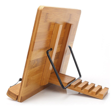 Adjustable Reading Rest Tablet Cook Home Study Room Book Holder Foldable Cookbook Stand Pages Fixed Kitchen Natural Bamboo bamboo hollow adjustable reading book holder tray page paper clips foldable tablet cookbook portable sturdy bookstand
