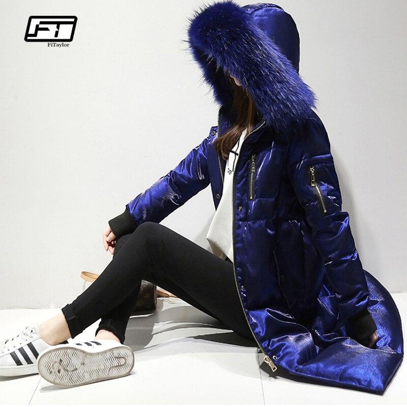 Chaqueta de invierno para mujer, chaqueta de invierno, con capucha, cuello de piel grande, con capucha, abrigo largo de Velour para mujer, abrigo delgado para nieve-in Plumíferos from Ropa de mujer    1