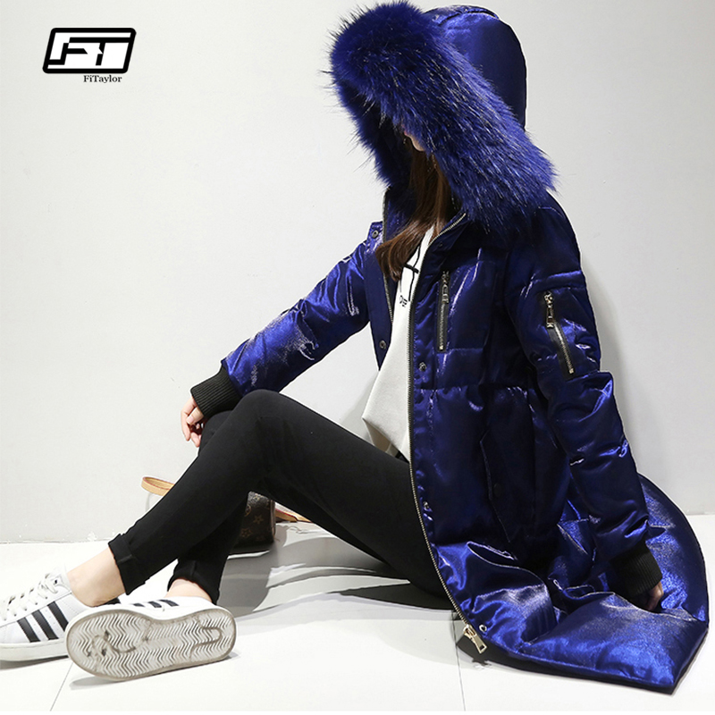 Fitaylor Winter Jacket Women White Duck   Down   Big Fur Collar Hooded Long Velour Parkas   Coat   Female Slim Snow Outerwear