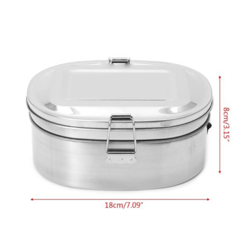 Container Store Lunch Box: 2 Compartments Stainless Steel Bento Lunch Box Food