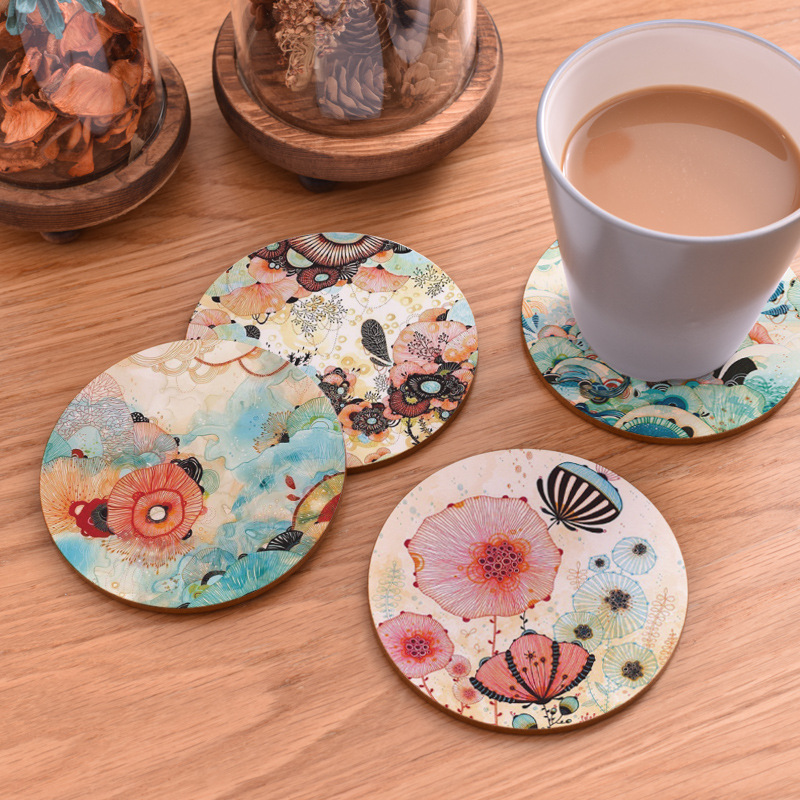 Table Mat Round Dining Table Placemats Square Wooden Cup Pad Cork Flowers Insulation Mat Round Coasters Pad Coaster Kitchen Mat