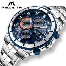 MEGALITH Homens Esporte Militar Relógios Dos Homens Do Cronógrafo Relógio Analógico de Quartzo de Aço Inoxidável À Prova D' Água Masculino Relógio Relogio masculino