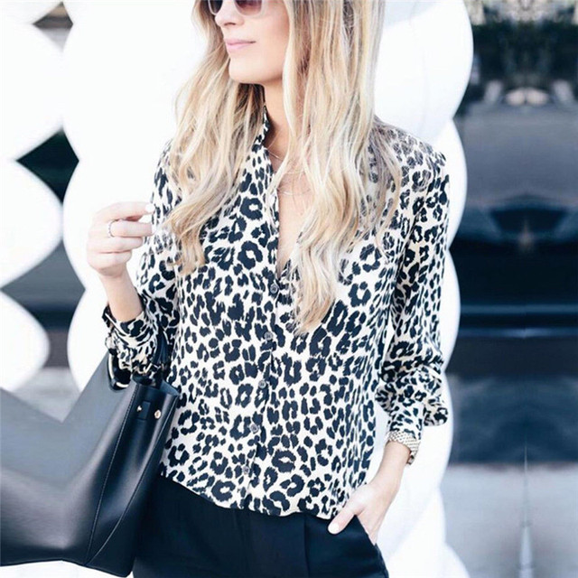 Fashion Women Long Sleeve Leopard Blouse V neck Shirt Ladies OL Party Top Dames Streetwear blusas femininas elegante Plus Size 2