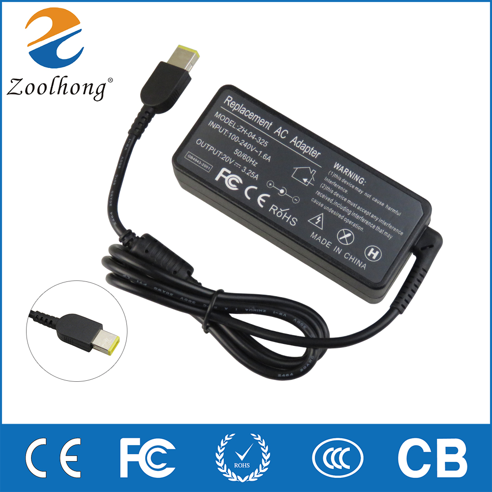 Zoolhong 20V 3.25A 65W AC penyesuai kuasa komputer riba AC untuk Lenovo Thinkpad X1 Carbon Lenovo G400 G500 G505 G405 YOGA 13