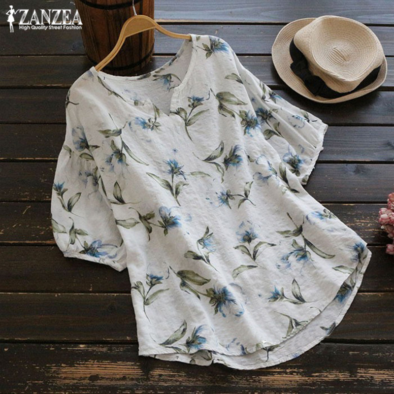 Plus Size  Top 2019 ZANZEA Summer Womens Blouse Female Tunic Top Vintage Short Leeve Casual Blusa Vintage Printed Tee Shirt