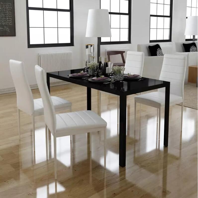 VidaXL 5 pièces. Ensemble Table à manger plateau de Table en verre trempé noir et blanc 1 Table noire et 4 chaises blanches meubles de salle à manger