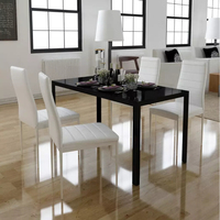 VidaXL 5pcs. Dining Table Set Black And White Tempered Glass Table Top 1 Black Table And 4 White Chairs Dining Room Furniture
