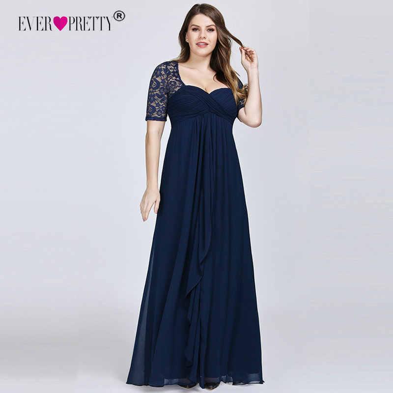 Azul Marino Madre De La Novia vestidos De talla grande elegantes una línea De manga corta vestidos De fiesta De boda con volantes Madre De La Novia