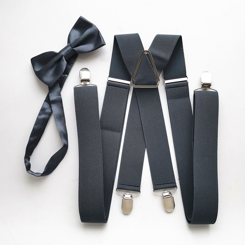 Dark Gray  Color 140 Cm XXL Size Big Adult Suspender Butterfly Bow Tie Adjustable Suspenders Neck Tie Set Men Women LB054