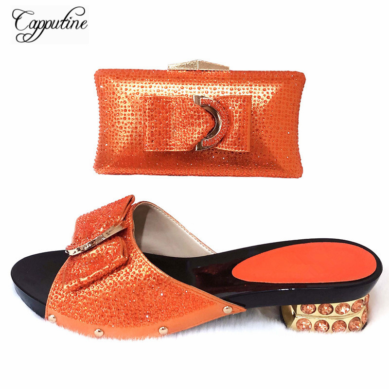 Capputine  New Italian Design Rhinestone Pink Shoes With Bag Set African Style Pumps 4.5CM Woman Shoes And Purse Set For PartyCapputine  New Italian Design Rhinestone Pink Shoes With Bag Set African Style Pumps 4.5CM Woman Shoes And Purse Set For Party