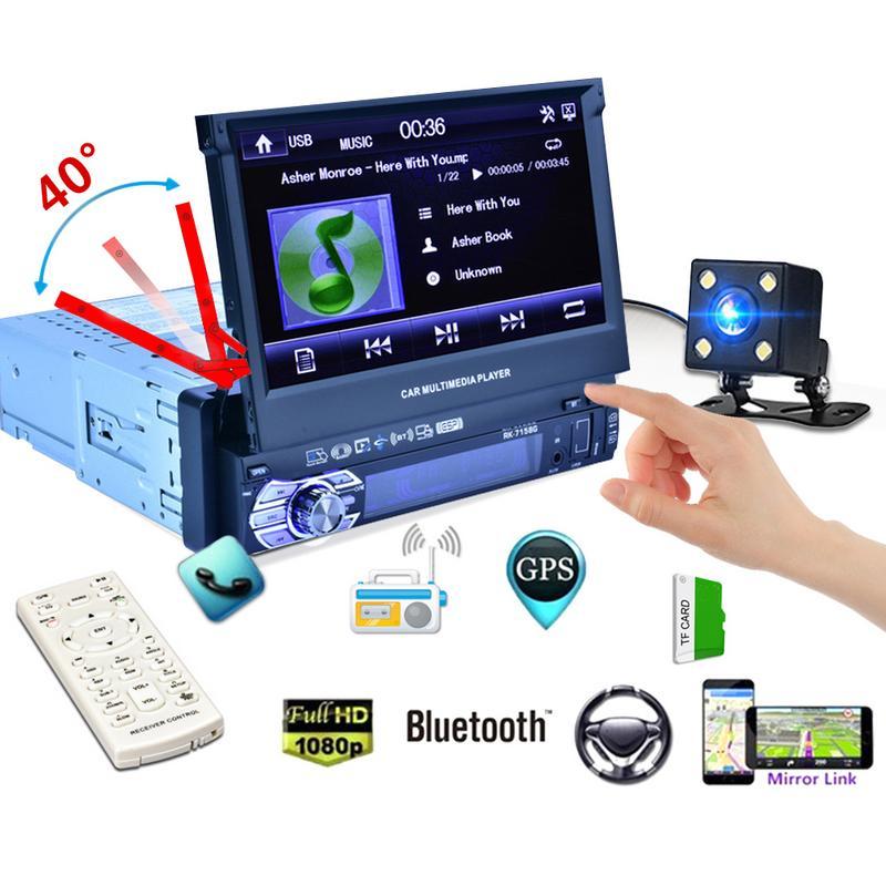 Nouvelle Arrivée De Voiture Radio Multimédia Lecteur Véhicule-Monté Full Auto Rétractable Écran MP5 MP4 MP3 Lumière Colorée GPS Tous Les dans Un