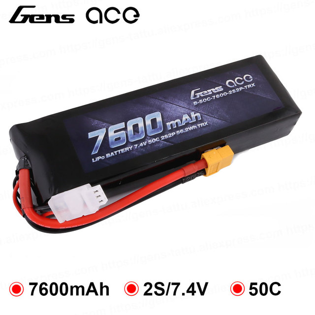 Gens ace 2S Lipo Battery 7.4V 7600mAh RC Car Battery for Traxxas 50C with TRX Plug Battery for RC TRXXAS REVO 1/10 1/8 Car
